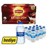 Lipton Demlik Poşet Çay Extra Dem 100'lü (12'li Sırma Su Hediyeli)