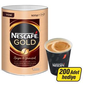 Nescafe Gold Kahve Teneke Kutu 900 gr (200 Adet Karton Bardak Hediyeli)