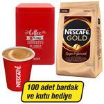 Nescafe Gold Kahve Poşet 500 gr x 2 (Nescafe Teneke Kutu + 100 Adet Karton Bardak Hediyeli)