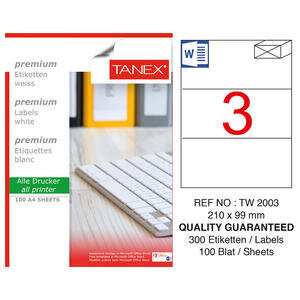 Tanex Tw-2003 Beyaz Sevkiyat ve Lojistik Etiketi 210 mm x 99 mm
