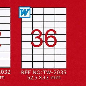 Tanex Tw-2035 Beyaz Etiket 52.5 mm x 33 mm