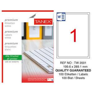 Tanex Tw-2001 Beyaz Etiket 199.6 mm x 289.1 mm