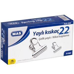 Mas 938 Yaylı Evrak Kıskacı 22 mm 24'lü Paket