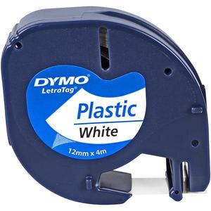 Dymo Letratag Plastik Etiket 12 mm x 4 m Beyaz