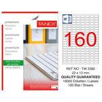 Tanex Tw-2280 Beyaz Etiket 22 mm x 12 mm