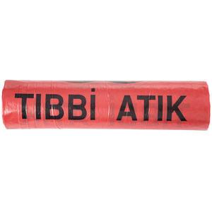 Tıbbi Atık Çöp Torbası 80 cm x 110 cm Kırmızı Tek Rulo