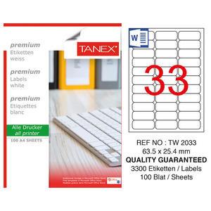 Tanex Tw-2033 Beyaz Etiket 63.5 mm x 25.4 mm
