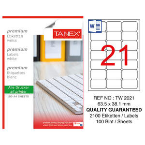 Tanex Tw-2021 Beyaz Etiket 63.5 mm x 38.1 mm