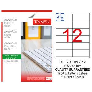 Tanex Tw-2512 Beyaz Adresleme ve Postalama Etiketi 105 mm x 46 mm