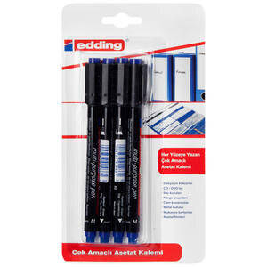 Edding 149M Asetat Kalemi 1 mm Uçlu Mavi 4'lü Kutu