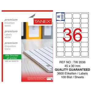 Tanex Tw-2036 Beyaz Etiket 45 mm x 30 mm