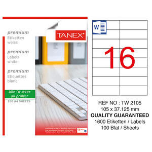 Tanex Tw-2105 Beyaz Adresleme ve Postalama Etiketi 105 mm x 37.125 mm