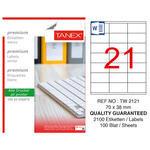 Tanex Tw-2121 Beyaz Adresleme ve Postalama Etiketi 70 mm x 38 mm
