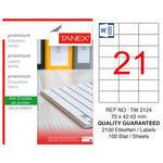 Tanex Tw-2124 Beyaz Adresleme ve Postalama Etiketi 70 mm x 42.43 mm