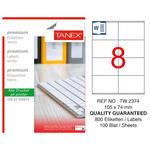 Tanex Tw-2374 Beyaz Etiket 105 mm x 74.25 mm