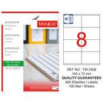 Tanex Tw-2408 Beyaz Sevkiyat ve Lojistik Etiketi 105 mm x 72 mm