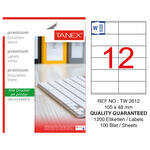 Tanex Tw-2612 Beyaz Adresleme ve Postalama Etiketi 105 mm x 48 mm