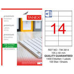 Tanex Tw-2614 Beyaz Adresleme ve Postalama Etiketi 105 mm x 40 mm