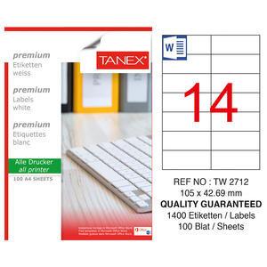 Tanex Tw-2712 Lazer Etiket 105 mm x 42.69 mm 14'lü