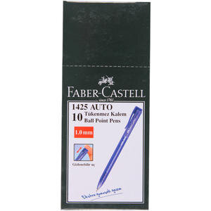 Faber Castell 1425 Auto Tükenmez Kalem 1 mm İğne Uçlu Mavi 10'lu Paket