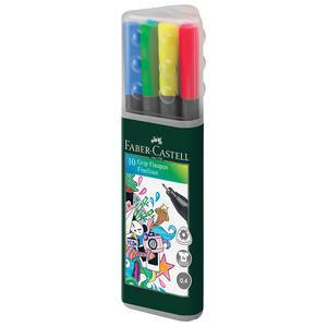 Faber Castell Grip Finepen 0.4 mm Keçeli Kalem Plastik Karışık Renkli 10'lu Paket