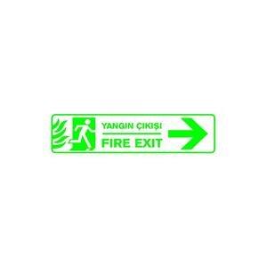 Yangın Çıkışı Sağ PVC Uyarı Levhası B1 104 7,5 cm x 25 cm x 3 mm