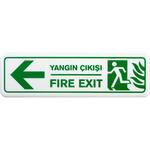 Yangın Çıkışı Sol PVC Uyarı Levhası B1 105 7.5cm x 25 cm x 3 mm