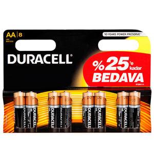 Duracell Alkalin AA Kalem Pil Ekonomik 6+2'li Paket