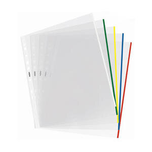 Noki 4833 A4 Delikli Şeffaf Poşet Dosya Renkli Kenarlı 25'li Paket