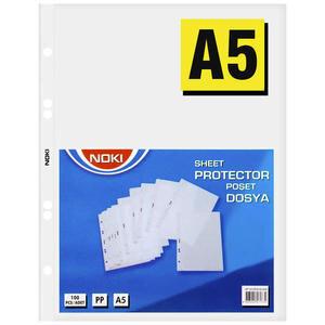 Noki 4835 A5 Delikli Şeffaf Poşet Dosya 100'lü Paket