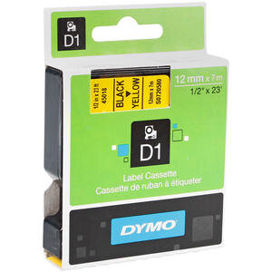 Dymo 45018 Etiket Plastik 12 mm x 7 m Sarı Siyah