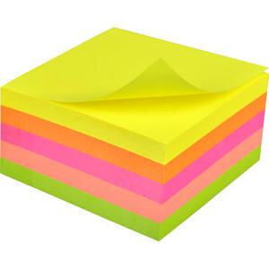 Hopax 21012 Yapışkanlı Not Kağıdı Küp Blok 76 mm x 76 mm Neon Renkler 400 Yaprak
