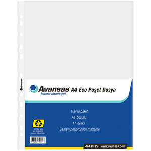Avansas A4 Eco Delikli Şeffaf Poşet Dosya 100'lü Paket