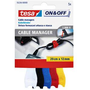 Tesa Kablo Organizatörü Çok Renkli 5'li Paket 20 cm x 12 mm