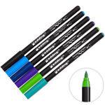 Edding E-4200 Porselen Kalemi Fırça Uçlu Soğuk Renkler 6'lı Paket