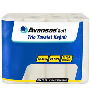 Avansas Soft Trio Tuvalet Kağıdı 3 Katlı 24'lü Paket