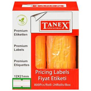 Tanex Motex Çizgili Turuncu 12 mm x 21 mm Fiyat Etiketi 24'lü Paket