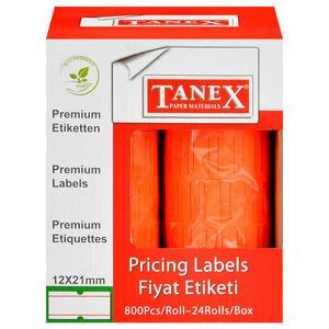 Tanex Motex Çizgili Kırmızı 12 mm x 21 mm Fiyat Etiketi 24'lü Paket