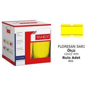 Tanex Motex Çizgili Sarı 12 mm x 21 mm Fiyat Etiketi 24'lü Paket