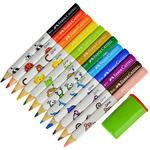 Faber Castell Ekolojik Jumbo Üçgen Kuru Boya Kalemi Karışık Renk 12'li Paket
