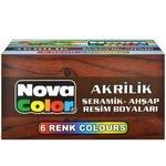Nova Color Nc-180 Karışık Renkli Akrilik Boya 6'lı Paket