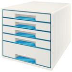 Leitz Wow Evrak Rafı 5 Çekmeceli Metalik Mavi Beyaz