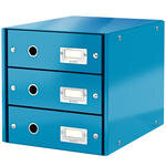Leitz Wow C-S Evrak Rafı 3 Çekmeceli Metalik Mavi