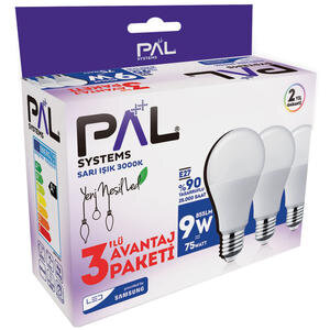 Pal Systems 9 W 3000K Gün Işığı LED Ampul 3'lü Paket