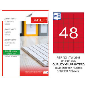 Tanex Tw-2348 Kırmızı Etiket 35 mm x 35 mm