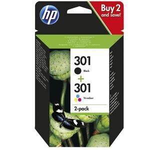 HP 301 Siyah (Black) / Üç Renkli 2'li Kartuş N9J72AE
