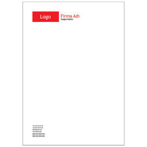 Antetli Kağıt 100 Adet - Klasik Antetli Kağıt Kırmızı
