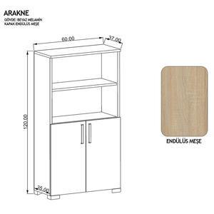 Avansas Comfort Çok Amaçlı 2 Kapaklı Açık Raflı Dolap Endülüs Meşe / Beyaz