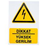 Dikkat Yüksek Gerilim PVC Dekota Uyarı Levhası P1D-02126