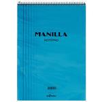 Le Color Manilla Yumuşak Mavi Kapaklı Spiralli Çizgili Defter 21 cm x 30 cm 70 Yaprak